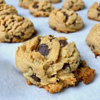 A closeup of a peanut butter chocolate chip cookie.