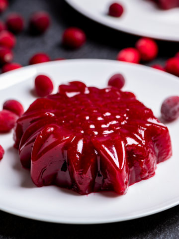 Molded cranberry sauce on a white plate with loose cranberries.