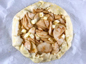 Apple galette ready to bake.