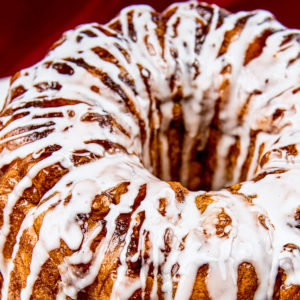 Icing drizzled on top of monkey bread.