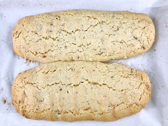 Baked almond biscotti cooling.