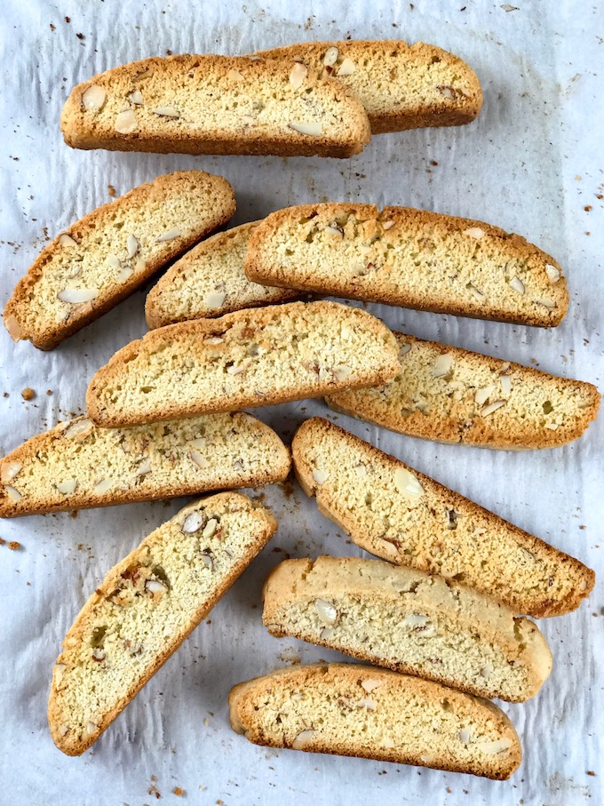 Baked biscotti on a baking sheet.