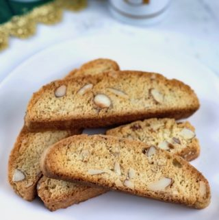 Biscotti on a white dish.