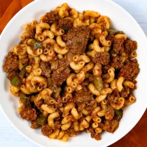 A bowl of American chop suey a.k.a. American goulash.