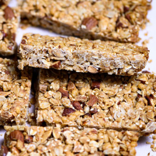 Side view of a honey nut granola bar.