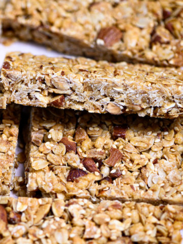 Side view of a honey nut granola bar.