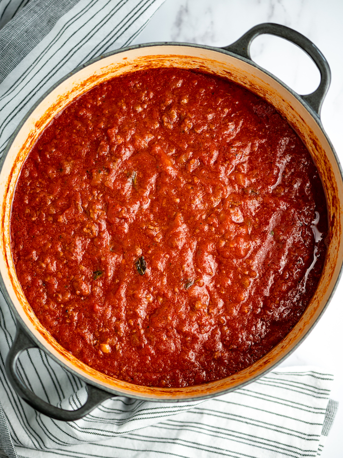 Italian meat sauce in a pot.