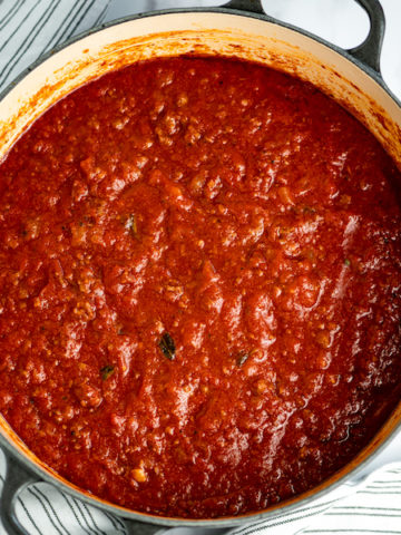 Italian meat sauce in a pot.