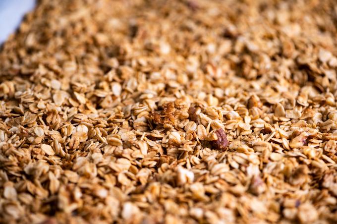 Closeup of maple walnut granola.