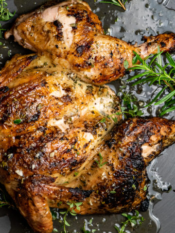 Grilled Rosemary Spatchcock Chicken
