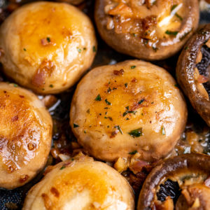 Golden sautéed mushrooms with garlic butter and shallots.