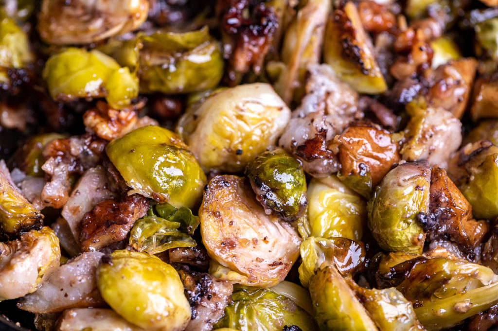 Brussels sprouts, pear and walnuts all roasted.
