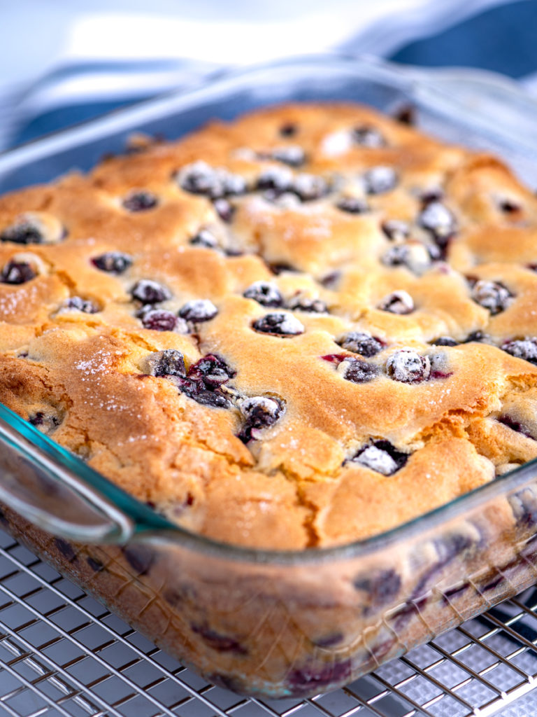 A square pan of blueberry cake cooling on a rack.