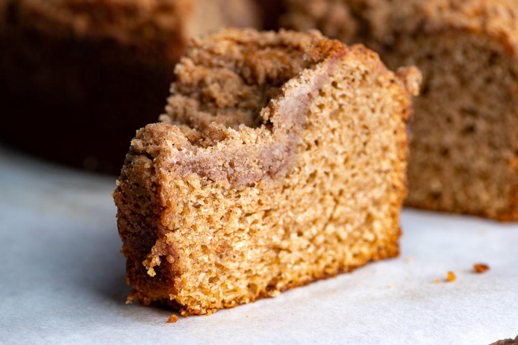 A slice of cinnamon coffee cake.