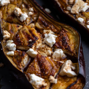 Roasted eggplant with balsamic and feta.